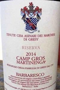 Tenute Cisa Asinari dei Marchesi di Gresy Barbaresco Camp Gros Martinenga Riserva 2014