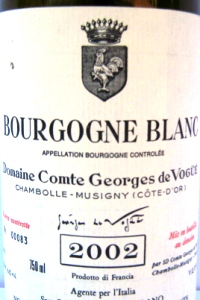 Bourgogne Blanc Domaine Comte Georges de Vogüé