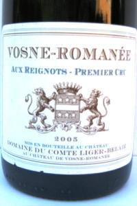 Vosne Romanée 1er Cru Aux Reignots Monopole 2005 Comte Ligier Belair