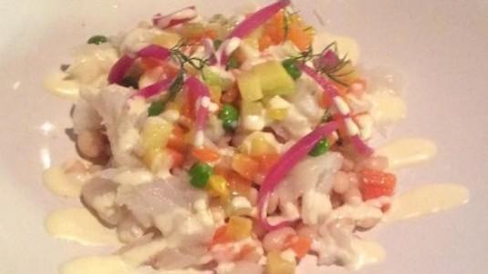 Baccalà con insalata di fagioli del purgatorio e maionese allo zenzero