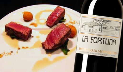 Filetto di manzo, salsa di fegato d'oca e pepe di Sichuan - Brunello di Montalcino 2016 La Fortuna