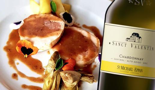 Pollo ripieno con pomodori secchi e pistacchi di Bronte Alto Adige Chardonnay Sanct Valentin della Cantina Produttori San Michele Appiano