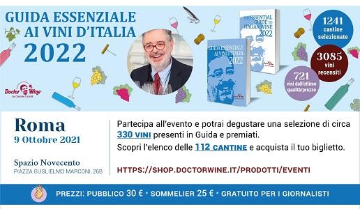 Guida Essenziale ai Vini d'Italia 2022 DoctorWine - Presentazione Roma 9 ottobre 2021