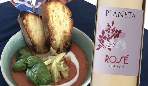 Zuppa fredda di pomodori kamarino Sicilia Rosé 2019 Planeta