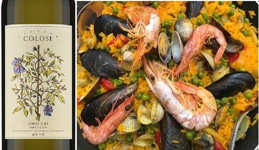 Paella di pesce e Grillo Sicilia Doc 2018 Cantine Colosi