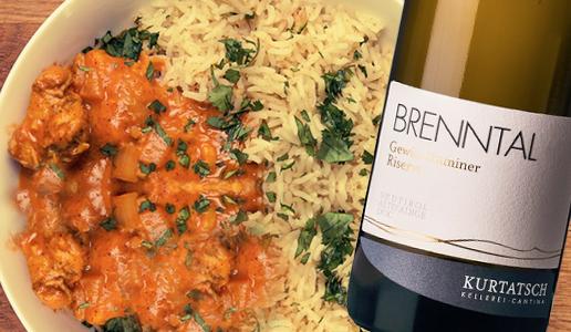 Curry di salmone con Alto Adige Gewürztraminer Brenntal Riserva 2017 Kurtatsch Kellerei-Cantina