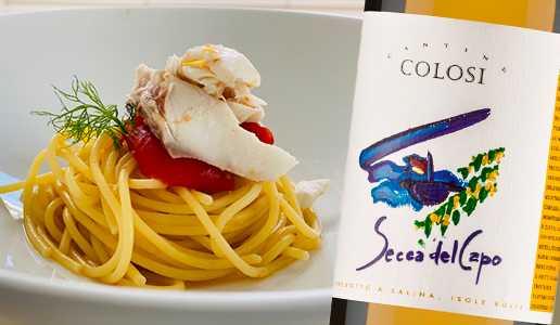 Spaghetti con pomodori confit e orata con Secca del Capo Salina Igp 2019 Cantine Colosi