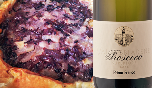 Torta rustica con radicchio, brie e pere e Valdobbiadene Prosecco Superiore Dry Primo Franco 2019 Nino Franco