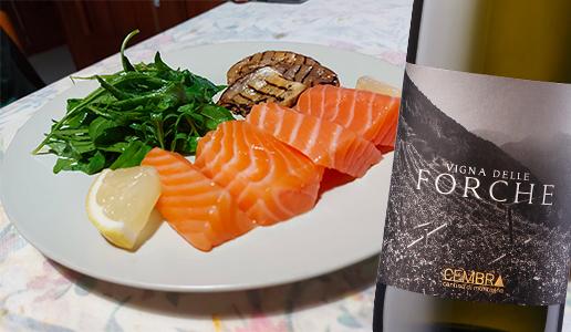 Tranci di salmone e Trentino Müller Thurgau Vigna delle Forche