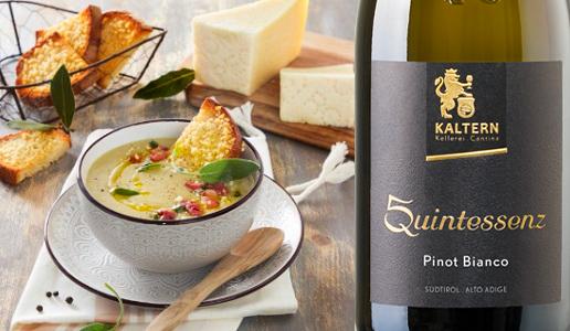 zuppa di cipolle con Alto Adige Pinot Bianco Quintessenz 2018 Kaltern Kellerei-Cantina