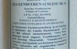 Eitelsbacher Karthaeuserhofberg riesling trockenbeerenauslese nr 54