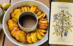 Patate a raggiera alle erbe aromatiche e Grillo Sicilia Doc 2020 Cantine Colosi