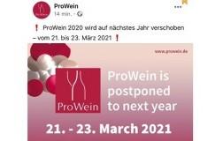 ProWein 2020 rimandata a 21-23 marzo 2021