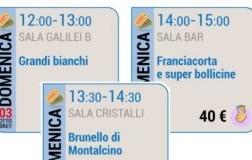 Seminari di domenica 3 Grandi bianchi, Brunello di Montalcino, Franciacorta e Super Bollicine