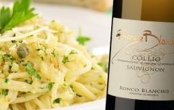 Spaghetti con baccalà e Collio Sauvignon 2019 Ronco Blanchis