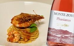 Spaghetti con gamberi in rosso e Phasianus Corvina Rosato Verona Igt 2019 Cottini Monte Zovo