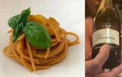 Spaghetti integrali con pomodoro giallo e zafferano