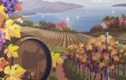 quadro olio su tela grappoli paesaggio