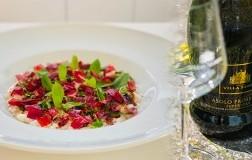 Risotto con latticello di mozzarella, menta e peperone crusco con abbinamento Villa Sandi