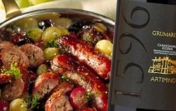 Salsicce con l'uva abbinato Carmignano Riserva Docg Grumarello 2015 Tenuta di Artimino