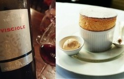 Soufflé di Prugne e Armagnac abbinamento QuerciAntica Vino e Visciole Sel. Velenosi